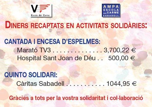 Diners recaptats en activitats solidàries